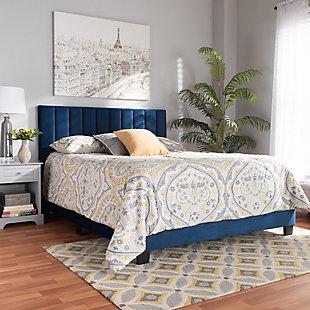 Baxton Studio Clare Velvet Upholstered Queen Panel Bed, Blue, rollover