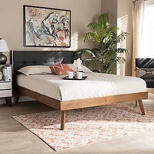 Baxton Studio Alke Mid-Century Upholstered Wood Queen Platform Bed, Charcoal, rollover