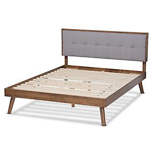 Baxton Studio Alke Mid-Century Upholstered Wood Queen Platform Bed, Gray, large