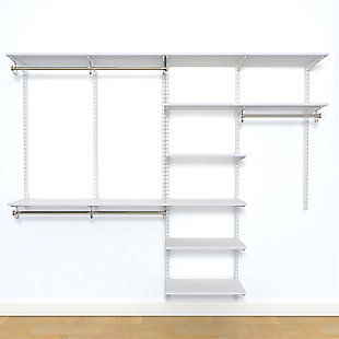 "Organized Living freedomRail® Basic Adjustable Closet Kit, 96""-100"", White, large"