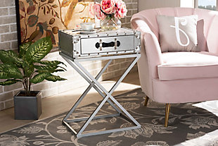 Baxton Studio William Metal 1-Drawer Nightstand, , rollover