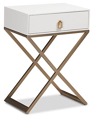 Baxton Studio Patricia Wood and Brass-Tone Metal 1-Drawer Nightstand, , large