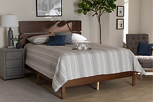 Baxton Studio Anthony Wood Queen Panel Bed, Brown, rollover