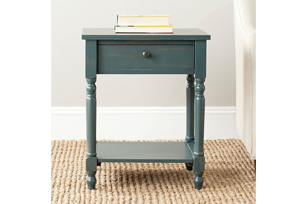Safavieh Tami Night Stand with Storage, Steel Teal, large