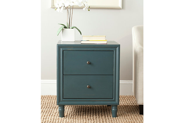Safavieh Blaise Night Stand with Storage, Steel Teal, large