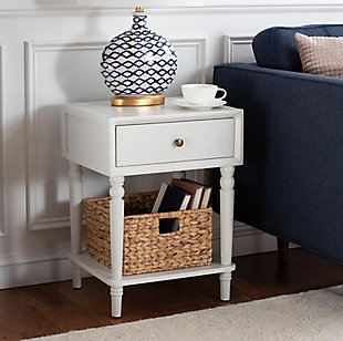 Safavieh Siobhan Night Stand with Storage, Shady White, rollover
