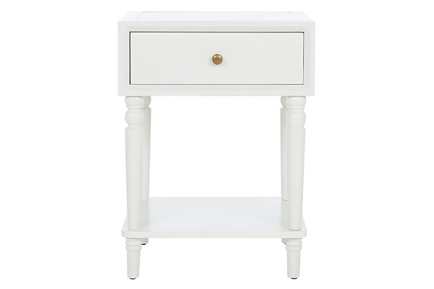 Safavieh Siobhan Night Stand with Storage, Shady White, large