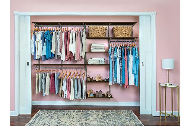 """Organized Living freedomRail® Basic Adjustable Closet Kit, 96""""-100"""", Chocolate Pear, large"""