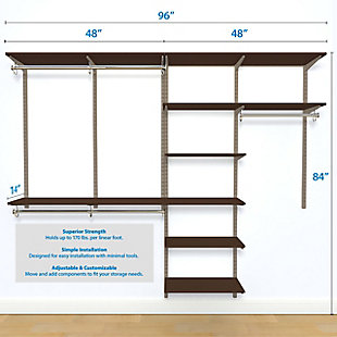 "Organized Living freedomRail® Basic Adjustable Closet Kit, 48""-52"", Chocolate Pear, large"
