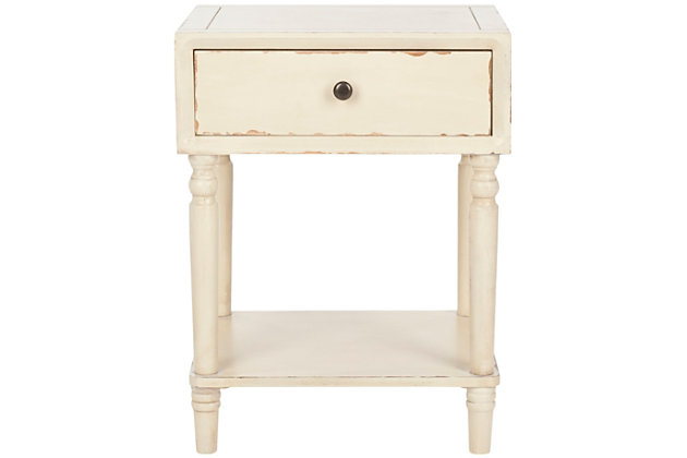 Safavieh Siobhan Night Stand with Storage, Vintage Cream, large