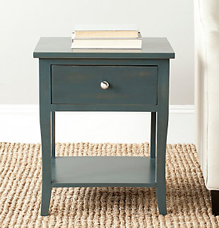 Safavieh Coby Night Stand with Storage Drawer, Steel Teal, rollover