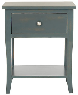 Safavieh Coby Night Stand with Storage Drawer, Steel Teal, large