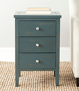 Safavieh Deniz Night Stand with Storage, Steel Teal, rollover
