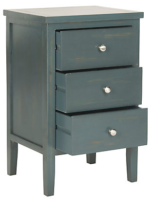 Safavieh Deniz Night Stand with Storage, Steel Teal, large