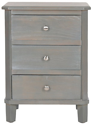 Safavieh Joe Night Stand with Storage Drawers, French Gray, large