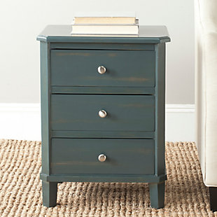 Safavieh Joe Night Stand with Storage Drawers, Steel Teal, rollover
