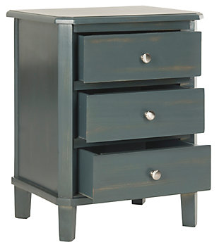 Safavieh Joe Night Stand with Storage Drawers, Steel Teal, large