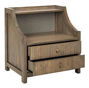 Safavieh Ellie 2 Drawer Nightstand, Weathered Oak, large