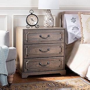 Safavieh Leighton 3 Drawer Nightstand, Weathered Oak, large