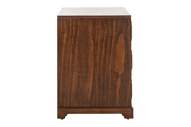 Safavieh Leighton 3 Drawer Nightstand, Mahogany, large