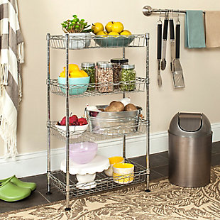 Safavieh Gaston 4 Tier Chrome Wire Mini Rack, , rollover