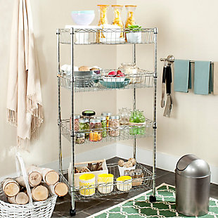 Safavieh Mario 4 Tier Chrome Wire Basket Rack Happimess, , rollover
