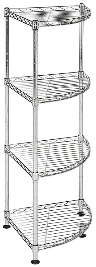 Safavieh Damaris 4 Tier Chrome Wire Corner Rack, , large
