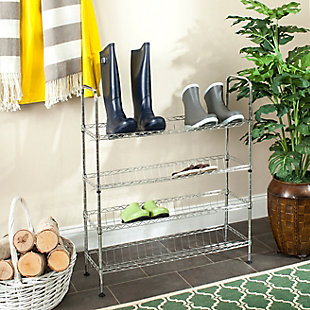 Safavieh Lidia Chrome Wire Adjustable Shoe Rack, , rollover