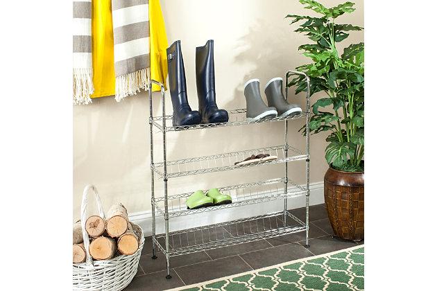 Safavieh Lidia Chrome Wire Adjustable Shoe Rack, , large