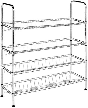 Safavieh Lidia Chrome Wire Adjustable Shoe Rack, , large