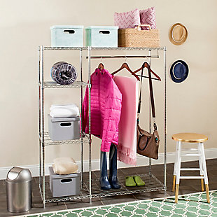 Safavieh Betsy Chrome Wire Adjustable Garment Rack, , rollover