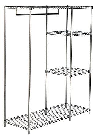 Safavieh Betsy Chrome Wire Adjustable Garment Rack, , large