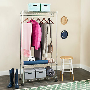 Safavieh Gordon Chrome Wire 3 Tier Garment Rack, , rollover