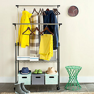 Safavieh Giorgio Chrome Wire Double Rod Clothes Rack, , rollover