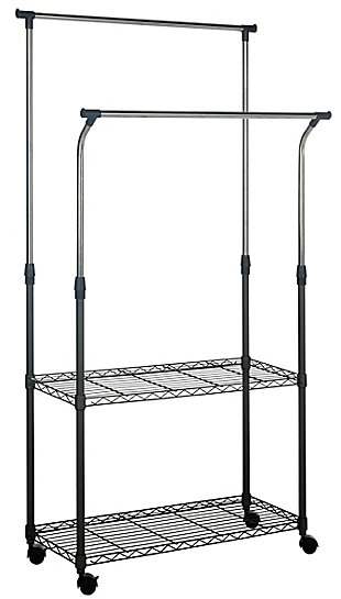 Safavieh Giorgio Chrome Wire Double Rod Clothes Rack, , large