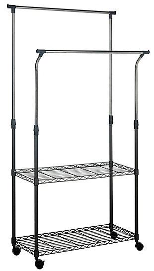 Safavieh Giorgio Chrome Wire Double Rod Clothes Rack, , large