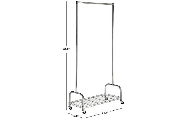 Safavieh Christian Chrome Wire Single Rod Clothes Rack, , large