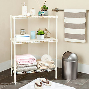 Safavieh Sierra Mini 3 Tier Chrome Wire Shelve, White, rollover