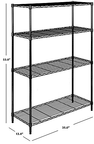 Safavieh Delta 4 Tier Chrome Wire Shelve, Black, large