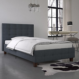DHP Atwater Living Ryder Blue Linen Twin Upholstered Bed, , rollover