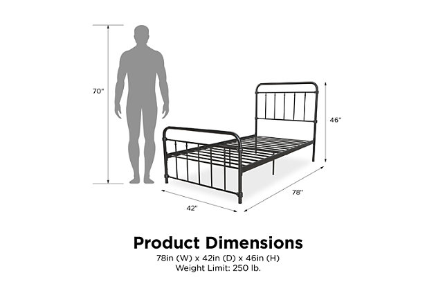 DHP Atwater Living Wyn Twin Metal Black Bed, Black, large