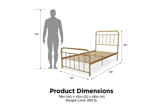 DHP Atwater Living Wyn Twin Metal Gold Bed, , large