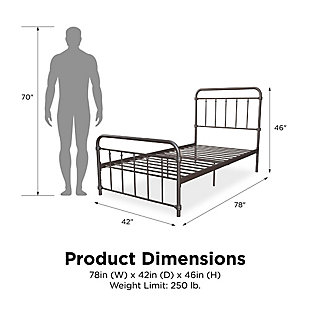 DHP Atwater Living Wyn Twin Metal Bronze Bed, Bronze, large