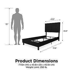 DHP Atwater Living Jazmine Twin Upholstered Bed, Black, large