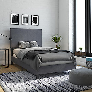 DHP Atwater Living Jazmine Twin Upholstered Bed, Gray, rollover
