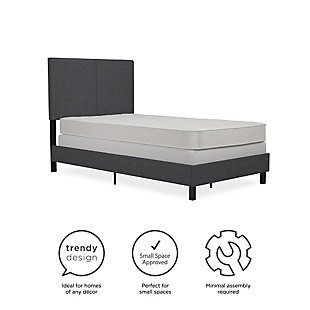 DHP Atwater Living Jazmine Twin Upholstered Bed, Gray, large