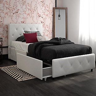 DHP Atwater Living Dana Twin Upholstered Bed with Storage, White, rollover