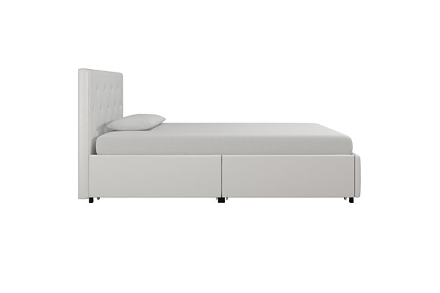 DHP Atwater Living Dana Twin Upholstered Bed with Storage, White, large
