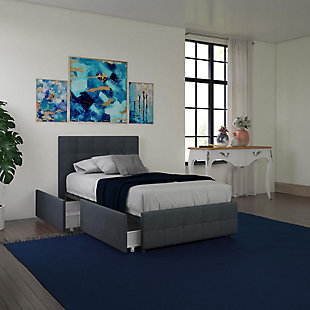 DHP Atwater Living Ryder Linen Twin Upholstered Bed with Storage, , rollover