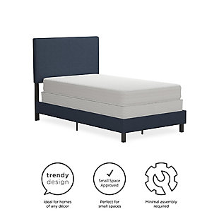 DHP Atwater Living Jazmine Twin Upholstered Bed, Navy Blue, large